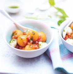 Recette : salade de billes de melon et mozzarella au basilic. #Picard