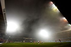 Fog hrouds the players during the npower Championship match between Nottingham Forest and Ipswich Town at City Ground on March 5, 2013 in ...