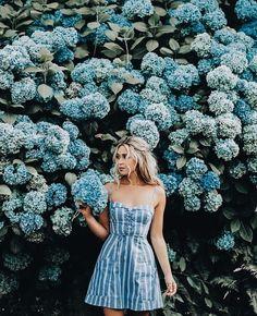 Pretty blue and white striped dress.