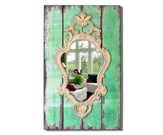 Wandspiegel Ebonia 40x66 cm Grün Vintage Optik Holz