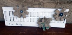 Vintage Painted Shutter with Burlap Flowers  Live by MadeItOnAWhim, $23.00