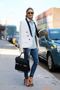 Olivia Palermo's white and black tuxedo jacket and ripped jeans makes for a super chic outfit