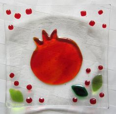 Fused Glass Plate Pomegranate by Shakufdesign on Etsy