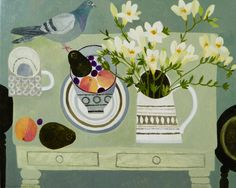 """Freesias,Peaches and Pigeon-oil on canvas -16x20"""". Painting from Vanessa Bowman's solo show at the Wren Gallery,Burford which started on Sunday 19th July."""
