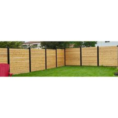 Slipfence in. x ft. Black Aluminum Fence – The Home Depot – front yard fence ideas Diy Backyard Fence, Diy Privacy Fence, Privacy Fence Designs, Backyard Landscaping, Diy Fence, Modern Landscaping, Wood Fence Post, Wood Fences, Modern Wood Fence