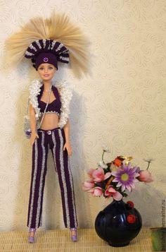 Купить Диско Барби - фиолетовый, серебро, хлопок 100%, пряжа, крючок, Для Барби, для кукол