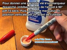 Il existe un truc simple pour donner une seconde vie à un marqueur sec.  Découvrez l'astuce ici : http://www.comment-economiser.fr/astuce-magique-pour-raviver-marqueur-desseche.html?utm_content=buffer11431&utm_medium=social&utm_source=pinterest.com&utm_campaign=buffer