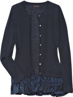 Burberry Prorsum Taffeta-trimmed Wool Cardigan in Blue