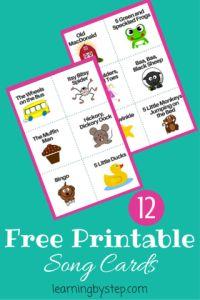 002 Preschool Song Cards Preschool songs, Preschool music
