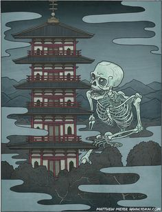 In Japanese Folklore, Gashadokuro is a giant skeleton made up of the bones of people who have died from starvation. If Gashadokuro sees you, it will bite your head off and drink the blood that drains out of your decapitated body Mythological Creatures, Fantasy Creatures, Mythical Creatures, Folklore Japonais, Art Japonais, Japan Illustration, Era Edo, Japanese Yokai, Japanese Mythology