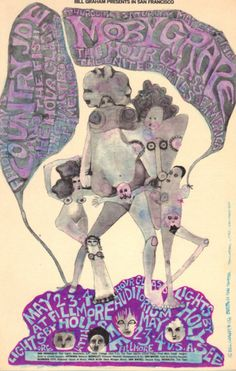 Fillmore Auditorium, May 2-4, 1968 - Moby Grape/The HourGlass/The United States of America/Country Joe and the Fish Art by Mari Tepper