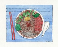Facebook illo challenge - Weekend. My husband and son both play cricket on Saturdays, and it  Facebook illo challenge - Weekend. My husband and son both play cricket on Saturdays, and it often finishes late. So Saturday night is often takeaway night. One of our faves is a big bowl of pho from our local Vietnamese restaurant! Delish!