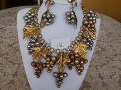 Vintage Signed MIRIAM HASKELL Brass Leaf Grape dangle necklace & earrings set