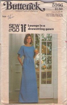 MOMSPatterns Vintage Sewing Patterns - Butterick 5166 Vintage 70's Sewing Pattern GROOVY Easy Sew & Go Lounge in a Drawstring Gown High Waisted Caftan Dress Size L