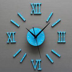 Large 3D DIY Wall Clock  Blue Antique Style Wood Quartz Clocks Mediterranean Watch Kit Decoration Home for Living Room Bedroom