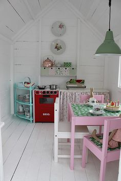 Part 3 of our collection of amazingly awesome cubby houses. Gather ideas for the ultimate cubby house hideaway for your kids! Don't forget to check out Part 1 & 2 for even more cubby inspiration. Inside Playhouse, Playhouse Decor, Playhouse Interior, Girls Playhouse, Backyard Playhouse, Wooden Playhouse, Playhouse Furniture, Playhouse Ideas, Kids Cubby Houses