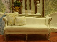 Gustavian Settee in Aged Grey Finish Miniature by FrenchVellum, $85.00