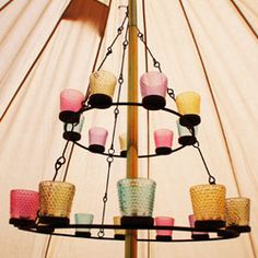 Glamping Supplies and other camping gear, including tents.~go glamping Camping Glamping, Camping Gear, Outdoor Camping, Camping Stuff, Candle Chandelier, Chandelier Lighting, Chandeliers, Tea Light Candles, Tea Lights