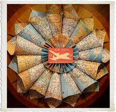 Map wreath from that old map book I have somewhere? Great to make from vintage maps and have vintage post cards around it. Vintage Airplane Room, Vintage Airplanes, Christmas Diy, Christmas Wreaths, Christmas Stuff, Holiday Crafts, Holiday Ideas, Ideas Prácticas, Craft Ideas