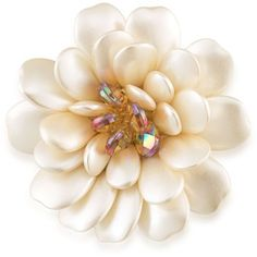 Carolee White Gold-Tone Moms The Word Pearl Blossoms Pin ($65) ❤ liked on Polyvore featuring jewelry, brooches, white, pearl jewelry, flower jewellery, flower jewelry, pearl jewellery and pearl brooch