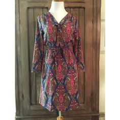 Retro Pattern Dress Vintage paisley inspired dress pattern. Drawstring elastic waist. Long sleeves. 100% machine wash polyester. Excellent condition. Dresses Midi