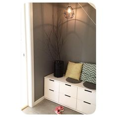 Ikea Nordly: Put in entry way closet and trim out to look built in. Entry Way Design, Hall Design, Ikea, Hallway Inspiration, Design Projects, Interior And Exterior, Sweet Home, Entrance Ways, Doorway