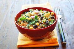 Warm Quinoa Salad with lime-cumin dressing
