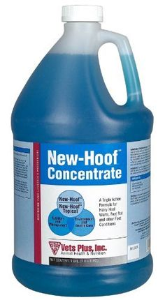 New-Hoof Concentrate - Gallon by AgriLabs. $38.95. A safe, biodegradable product designed for a control program in your footbath to lower the occurrence of hairy heel wart, foot rot, or other foot conditions. Contains ionized copper to kill bacteria that causes foot problems. Approved for livestock, including dairy and sheep. Mix 1 quart to 50 gallons of water for prevention. Mix 1 part New-Hoof to 2 parts water for treatment. Manufacturer Part Numbers: 30-000