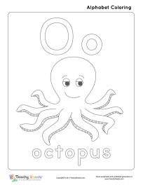 Preschool and kindergarten worksheet for Coloring Letter O o is for octopus. A fun free coloring worksheet that helps your child with letter O o recognition. For more free worksheets or worksheet generators visit us at http://TeachySheets.com