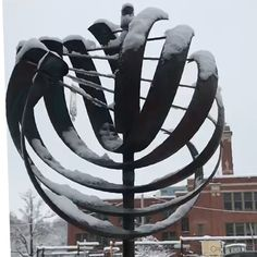 Snow Dazed by our Whitaker Nautilus Sculpture Metal, Wind Sculptures, Stone Garden Paths, Garden Stones, Wind Spinners, Nautilus, Metal Garden Art, Kinetic Art, Metal Crafts