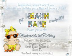 Deb's Party Designs - Beach Baby Birthday Invitation, $1.00 (http://www.debspartydesigns.com/beach-baby-birthday-invitation/)