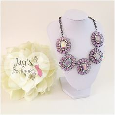 NOW AVAILABLE Beautiful Lavender flower necklace. its 19 inches long and can be adjusted 3 inches more.  Jewelry Necklaces