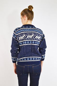 vintage 80s navy blue DALE OF NORWAY sweater / by trashyvintage