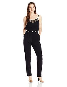 XOXO Womens Lace Trim Jumpsuit Black Large ** Check this awesome product by going to the link at the image.