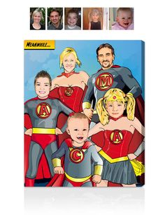 We believe everyone has a little Superhero in them! And now you can show if off with our custom Superhero Style portraits.  This personalized family portrait was created using the images of each family member, hand-illustrated by a team of award winning artists here at AllPopart!  #allpopart #uniquegifts #familyportraits #familyphotos #superheros