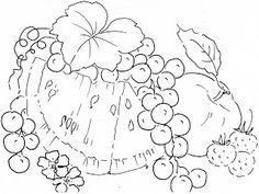 Pintura em Tecido: Risco de Frutas e flores.