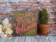 Mele Kalikimaka Hawaiian Christmas Hand Painted by KirkSeaDesigns
