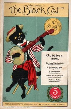 """The Black Cat"" magazine - October 1896 - Cover by Nelly Littlehale Umbstaetter"