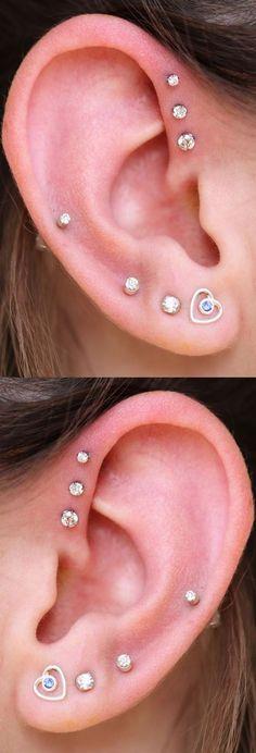 Cute Ear Piercing Ideas at MyBodiArt.com - Alva Crystal Triple Helix Piercing Studs Silver 16G - Heart Earring #ad