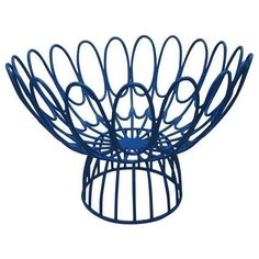 Selamat Designs Mayfair Floral Wire Bowl Blue By ($28) ❤ liked on Polyvore featuring home, home decor, decorative bowls, blue home accessories, japanese home decor, blue bowl, floral centerpieces and wire bowl