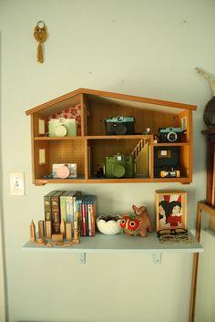 Vintage Lundby dollhouse used as shelf