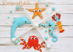 Mobile - Sea creatures mobile, baby mobile, nursery mobile - ein Designerstück von KarapuzBoutique bei DaWanda