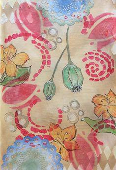 Art Journal, Journal page, Mixed media, gelatos, stencils, modeling paste, stamping, stempelen, cutting die, lace, acrylic paint, acrylverf, Distress ink, Posca pens, pastel pencil, pastel potlood, lampionnen, lanterns, lelies, lilys