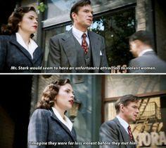 Mr. Stark's taste in women. | Agent Carter Marvel Funny, Marvel Memes, Marvel Avengers, Marvel Comics, Peggy Carter, Agent Carter, Hayley Atwell, Dc Memes, Bucky Barnes