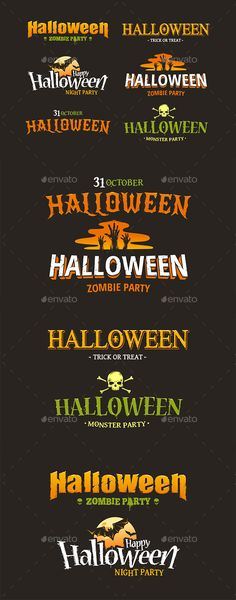 Halloween typography set. Six different styled artistic halloween titles. Vector illustration.ZIP contains:AI file with curved tex