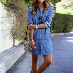 Here is Denim Dress Outfit Picture for you. Denim Dress Outfit 8 denim dress outfits to wear this spring who what wear. Looks Style, Casual Looks, Looks Camisa Jeans, Mode Lookbook, Denim Shirt Dress, Denim Dresses, Denim Shirts, Sleeve Dresses, Chambray Dress
