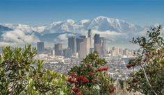 Los Angeles with snow in the mountains.