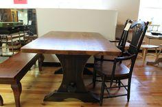 Rustic Trestle Table Chestnut Brown Finish - ECustomFinishes