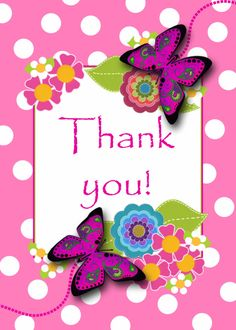 Thank You For Your Help and Support , Dots, Butterflies, Flowers card. Personalize any greeting card for no additional cost! Cards are shipped the Next Business Day. Product ID: 928630