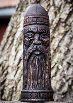 Wooden rune Box, Odin statue, Futarkh, Viking, Woodcarving, Scandinavian Idol Norse Asatru Pagan, Art Wood Carving Hand Made Decor FREE SHIPPING hand carving